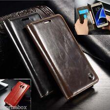 DE DISEÑO Piel Auténtica Retro Funda con Soporte tipo cartera Samsung S7 S8