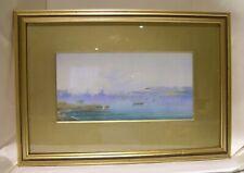 Vintage/Antique F&G Watercolour Mediterrean Shipping Scene Signed