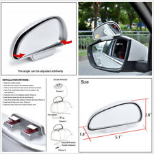 Left + Right Car Silver Universal Blind Spot Snap Way Auxiliary Rearview Mirror