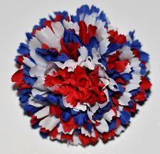 "3"" Red White & Blue Carnation Silk Flower Hair Clip Handmade Patriotic"