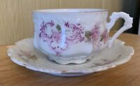 Antique 1920's HERMANN OHME Germany Hand Painted ROSES Teacup & Saucer