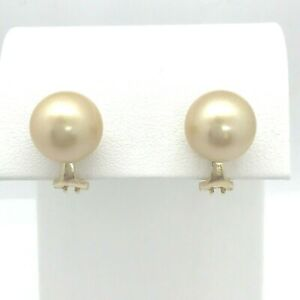 11 mm Golden South Sea Pearl 14k Yellow Gold Omega Clip Earrings