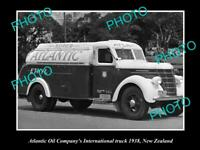 OLD POSTCARD SIZE PHOTO OF ATLANTIC OIL COMPANY PETROL TANKER c1938 NZ