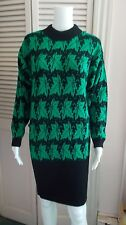 BEAUTIFUL VINTAGE 1980s SITUATIONS BLACK & GREEN LEAF PATTERN SWEATER DRESS MED