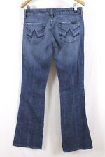 "7 For All Mankind  Womens  Blue Medium Wash Wide Leg ""A"" Pocket Jeans Sz 29 x 34"