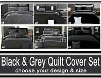 Black Charcoal Grey Quilt Cover Floral Striped Diamond Pintuck Doona Cover Set