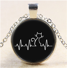 Cat is my Heartbeat Cabochon Glass Tibet Silver Pendant Necklace#E89