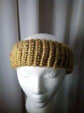 Handmade One Size Gold Knitted Ear Warmer 80% Acrylic 20% Wool Blend