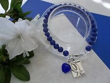 COLON CANCER AWARENESS BLUE BEADED HOPE BRACELET W/RIBBON CHARM/HEART