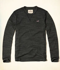 HOLLISTER Mens Shirt Black Crew Textured Waffle T-Shirt SMALL by Abercrombie NWT