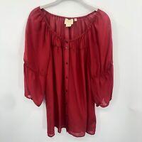 Anthropologie Vanessa Virginia Women Red Silk Peasant Top size M 3/4 sleeve