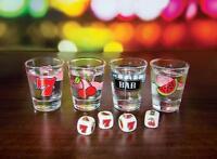 Jackpot Shots Drinking Game Pub Fun Fruit Slot Machine Shot Glasses & Dice Gift