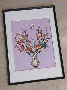 acrylic painting of a stag and wildlife