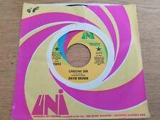 "DAVID BROWN - Carolina Sun / Highway Moon 1972 SOUTHERN ROCK 7"" PROMO Uni"
