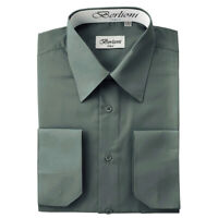 Berlioni Italy Men's Convertible Cuff Solid Italian French Dress Shirt Charcoal