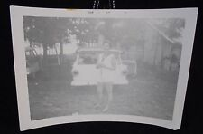 VINTAGE PICTURE OF WOMAN WITH LEGS FROM 1957 STATION WAGON PHOTO PHOPTGRAPH