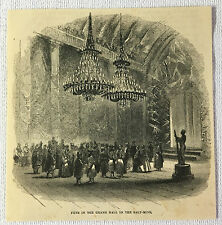 small 1862 magazine engraving ~ FETE in the GRAND HALL in SALT MINE, Poland