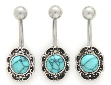 1) Single Steel Fancy Antique Round Turquoise Stone Belly Ring 14g Navel 383