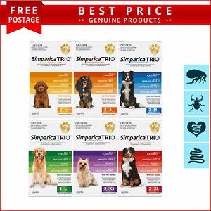 SIMPARICA TRIO for All Sizes Dogs Heartworm Flea Tick Control 3 Chews AU Seller
