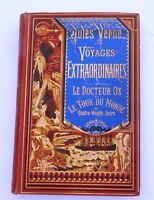 JULES VERNE. Le Docteur Ox.  Hetzel 1874 Cartonnage à la bannière bleue;