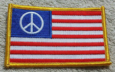 UNITED STATES OF AMERICA PEACE SYMBOL FLAG PATCH Embroidered Badge 6cm x 9cm USA