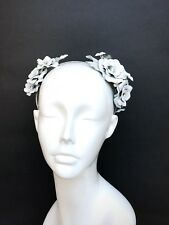 Bridal White Leather Headband White Floral Crown Wedding Headpiece