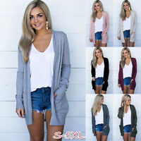 Women Long Sleeve Cardigan Jacket Solid Tunic Casual T Shirt Pocket Blouse Tops