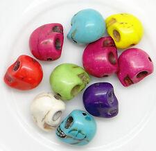 Lot de 10 perles en acrylique tête de mort 12,5 mm couleur mélangée-ptdm001