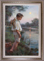 "Hand-painted Original Oil painting art Impressionism Small boy on Canvas 24""X36"""