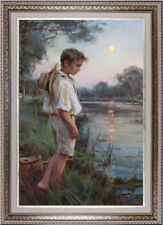 """Hand-painted Original Oil painting art Impressionism Small boy on Canvas 24X36"""""""