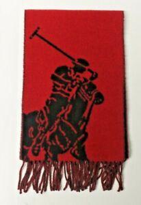 POLO RALPH LAUREN WOOL SCARF SCARVE SHAWL RED BIG PONY DW27 GENUINE