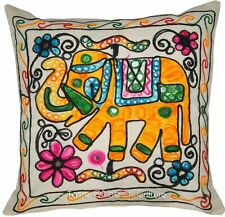"Indian 16"" Elephant Hand Embroidered Cushion Pillow Cover Sofa Throw Home Decor"