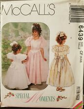 McCall's Special Moments pattern 6439 Girls Dresses & Perticoat sz 4, 5, 6 uncut