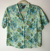 Woolrich Women's Shirt Size Medium Top Blouse Short Sleeves Floral Casual Cotton