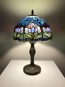 """Enjoy Tiffany-Style Table Lamp Blue Stained Glass Tulips Flower Vintage 19""""H12""""W"""