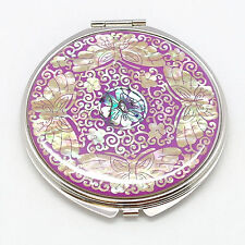 4 butterflies cosmetic double side compact mirror inlaid with mother of pearl
