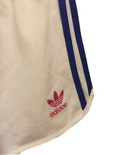 Adidas jogger shorts in white with 3 stripes in blue & red logo size US M UK 14