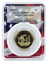 2009 S Sacagawea Dollar PCGS PR69 DCAM Flag Frame