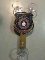NY PBA POLICE CAR WINDOW SHIELD BADGE WITH SUCTION CUP WINDOW MOUNT NEW YORK