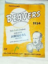 VINTAGE 1954  Portland Beavers 8th Annual edition Souvenir Program