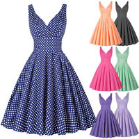 50s Vintage Retro ROCK N ROLL Pin up Swing Polka Dot Evening Dress 10 12 14 16 8