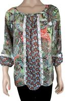 Fig & Flower Anthropologie Sheer Boho Tunic Top Floral Paisley P Medium Lace