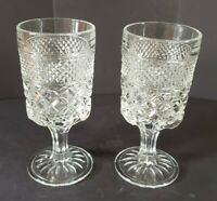 Vintage Pair Of Clear Pressed Glass Water Beverage Goblets Footed Tumblers 6.5""