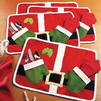HN- Christmas Mat Placemat Dining Table Mat Knife Fork Bag Home Dinner Decor Wel