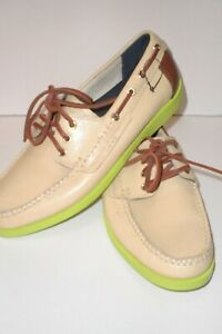 Cole Haan Fire Island Boat Shoe 8 Ivory/Woodbury/Garden Green C11303 NWOB