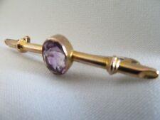 ANTIQUE 9ct Yellow Gold Bar Brooch Purple Amethyst Vintage Victorian 1860s 4.7cm