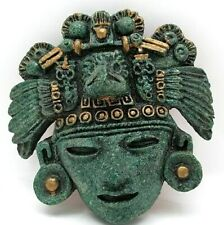 VINTAGE Zarebski  Aztec Mayan Crushed Malachite Stone WALL HANGING FIGURE MASK