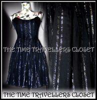 Kate Moss Topshop Black Silver Stripe Lurex Vintage 50s Mini Sun Dress UK 8 10