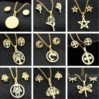 Fashion Gold Stainless Steel Women Pendant Necklace Earrings Charm Jewelry Set