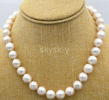 9-10MM White Real Freshwater Cultured Genuine Pearl Necklaces 18""